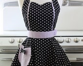 Retro Apron Sweetheart Neckline Black and White Polka Dot with Lavender Purple MAGGIE