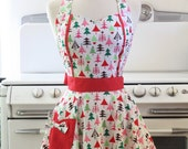 Apron Retro Style Sweetheart Neckline Colorful Christmas Trees Full Apron MAGGIE