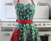 Retro Apron Sweetheart Neckline Circle Skirt Christmas Trees Full Apron BELLA