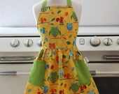 Retro Apron for Little Girls Squirrels and Owls Full Apron