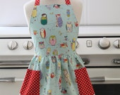 Apron Retro Style Blue Spotted Owl Full Apron for Little Girls