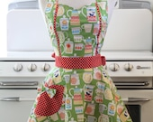 Apron Retro Teapots and Teacups on Green MAGGIE