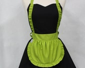 Apron French Maid Solid Black with Lime Green Double Circle Skirt Retro Full Apron