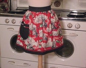 Vintage Inspired Christmas Red Kitty Half Apron