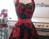 The MAGGIE Vintage Inspired Christmas Poinsettias on Black with Red Dots Full Apron