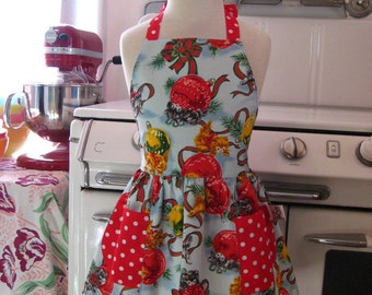 Vintage Inspired Christmas Blue Kitty Full Apron for Little Girls