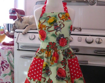 Vintage Inspired Christmas Green Kitty Full Apron for Little Girls