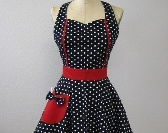 Polka Dot Retro Apron Black White and Red MAGGIE