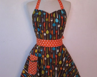 Apron Retro Style Sweetheart Neckline Utensils on Brown Full Apron BELLA Vintage Inspired