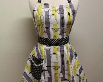 Retro Stripe Apron Mod Yellow Grey Kitchen BELLA