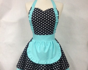 French Maid Apron Polka Dot with Aqua - Retro Full Apron