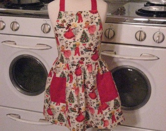 Vintage Inspired Christmas Eve Full Apron for Little Girls