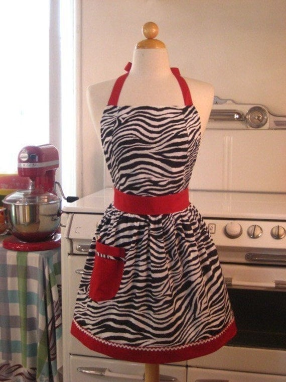 The CHLOE Vintage Inspired WILD Zebra with RED Full Apron