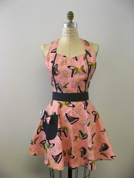 The MAGGIE Vintage Inspired Fifties Atomic Boomerang Full Apron