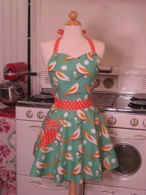The BELLA Vintage Inspired Turquoise and Orange Birdseed Full Apron