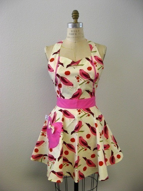 The MAGGIE Vintage Inspired Pink and Red Birdseed with HOT PINK Full Apron