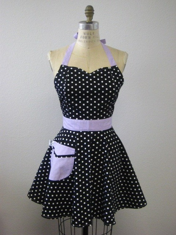 The BELLA Vintage Inspired Black and White Polka Dot with Lavender Purple Full Apron