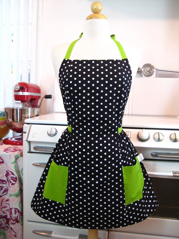 Vintage Inspired Black and White Polka Dot with Lime Green Full Apron