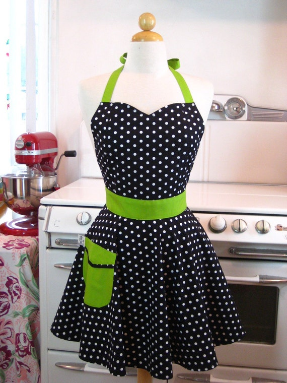 Retro Full Apron Sweetheart Neckline Black and White Polka Dot with Lime Green BELLA