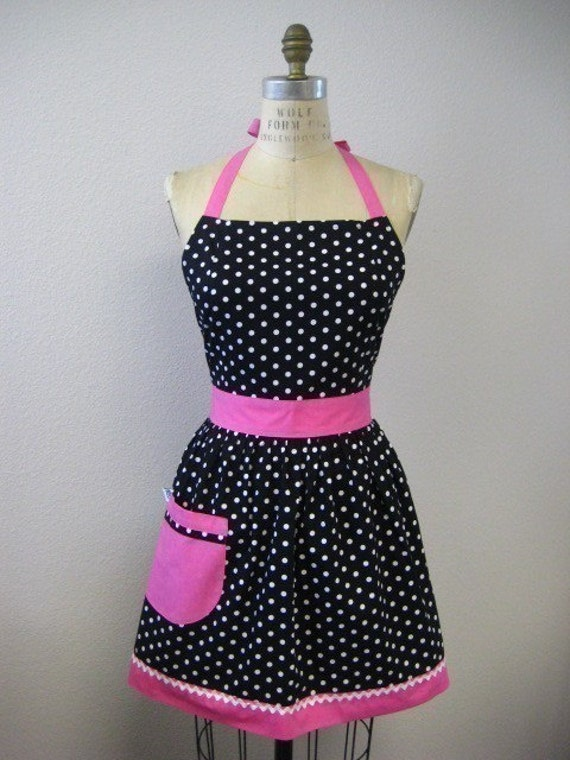 Retro Apron Polka Dot Black and White with HOT Pink Full Apron
