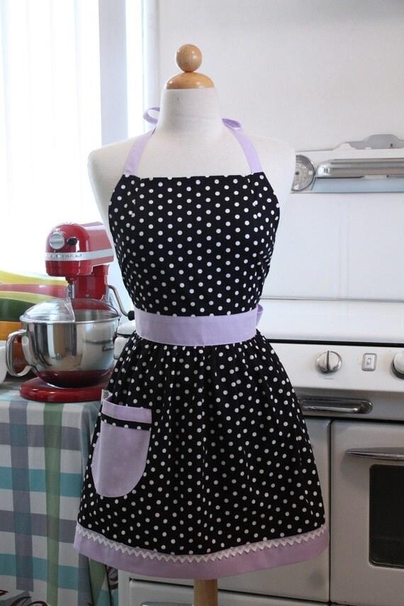 Apron Polka Dot Black White with Lavender CHLOE