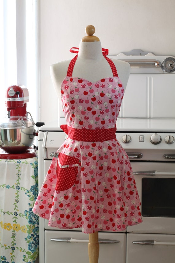 The Bella Vintage Inspired Metro Market Cherry Full Apron