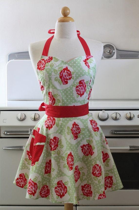 Retro Apron Sweetheart Neckline Mint Green Vintage Rose BELLA