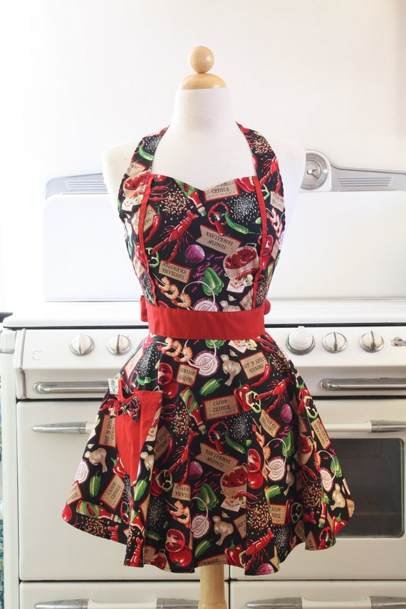 Retro Apron Sweetheart Neckline Louisiana Spicy Gumbo Full Apron MAGGIE