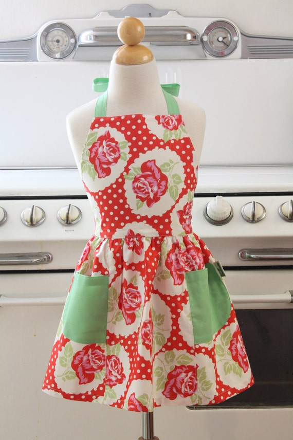 Retro Apron Red Vintage Rose Full Apron for Little Girls