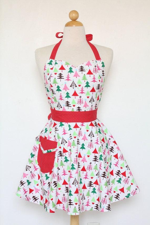 Retro Apron Sweetheart Neckline Colorful Christmas Trees Full Apron BELLA