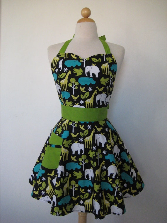 Retro Apron Sweetheart Zoo Animals Full Apron BELLA Vintage Inspired