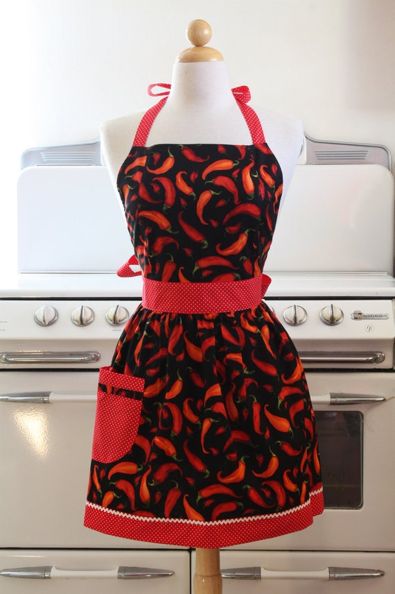 Retro Apron Chili Peppers CHLOE Full Apron