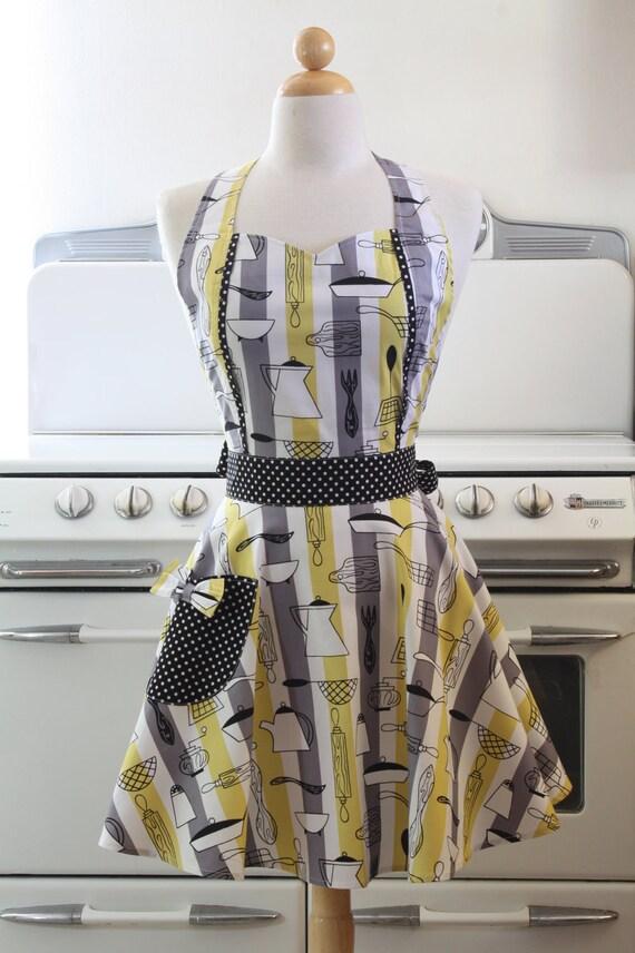 Retro Apron Vintage Style Sweetheart Neckline Atomic Kitchen Apron MAGGIE