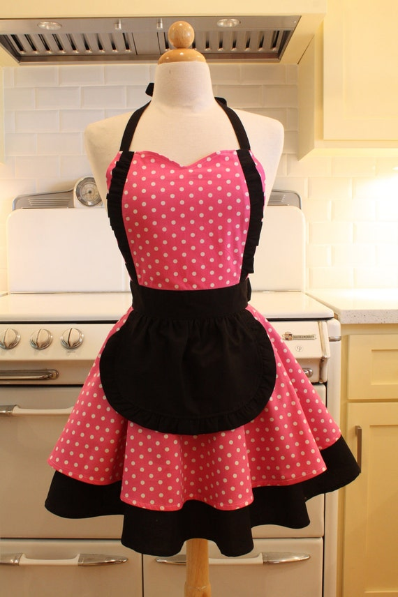 Apron French Maid Pink and White Polka Dot with Black Double Circle Skirt