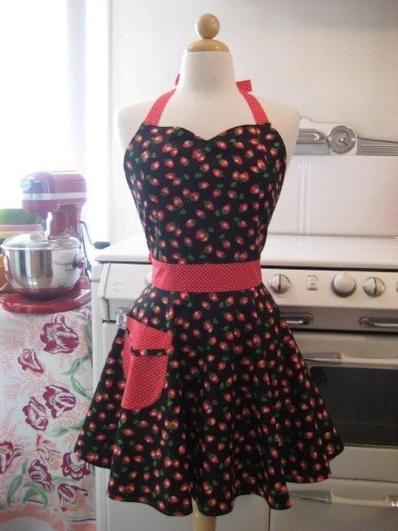 The BELLA Vintage Inspired CUTE Strawberries on Black Full Apron