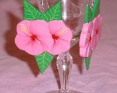 Vintage Hibiscus Handmade Drop Earings Under 5 Dollars