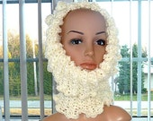 SALE - Crocheted Cowl Hoodie - Reversable Soft Fluffy Cream and Soft Cream