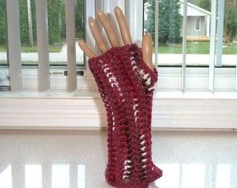 Fingerless Gloves Lite Burgundy Crocheted
