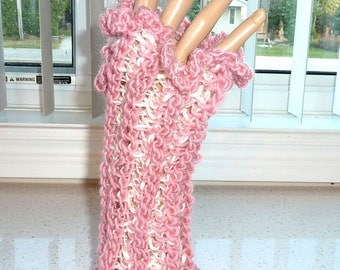 Fingerless Gloves Crocheted Pink and Cream Mix