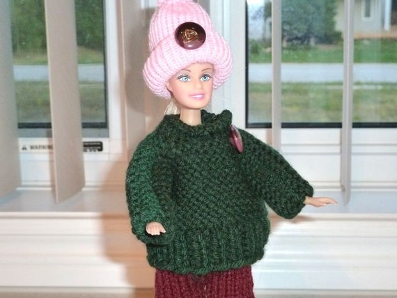 Barbie Clothes - Knit Burgundy and Green 3  Piece Set Fashion Doll Under 10 Dollars