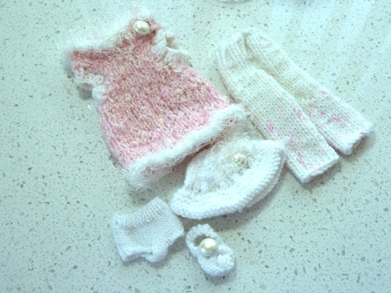 Barbie Clothes - Knit Dusty Rose and White with Faux Fur 5 Piece Set Fashion Doll
