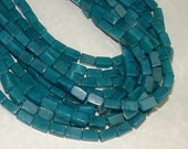 Aventurine 9mm x 6mm rectangles - 15.75 inch strand - phenomenal teal apatite color