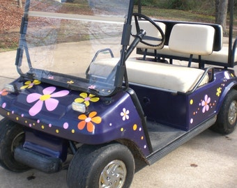 Hippy Flowers for your Golf Cart Vinyl Decal Stickers by Tonyabug Sticker Momma