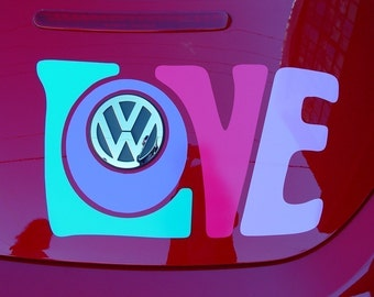 LOVE vinyl decal automotive graphic sticker for VW beetle trunk 2011 and older models