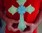 Blue and Green Cross with Music Trim