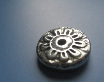 Hand Cast Pewter Posey One Hole Button Clasp