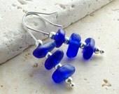 Sea Glass Earrings - Genuine Sea Glass Jewelry - Cobalt Blue Stacked
