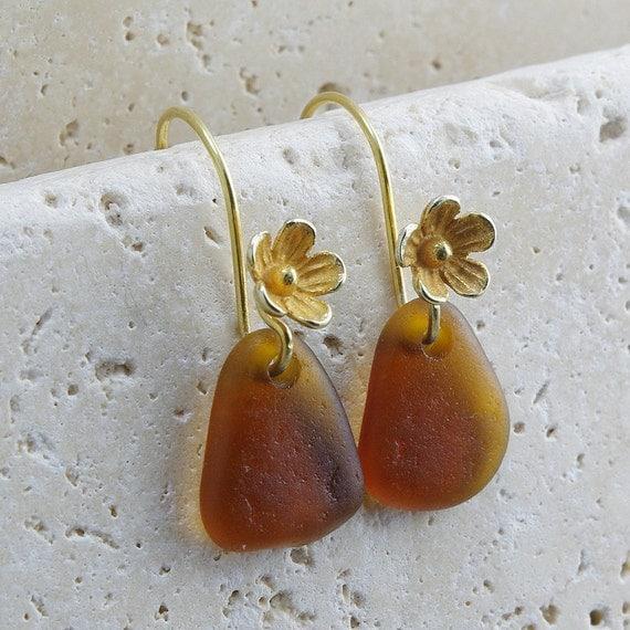 Sea Glass Jewelry - Earrings - Rootbeer Brown Gold Vermeil Flower