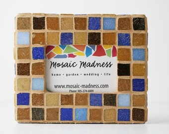 Mosaic Frame Glass Tile Brown Blue