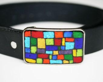 Colorblock Mosaic Belt Buckle